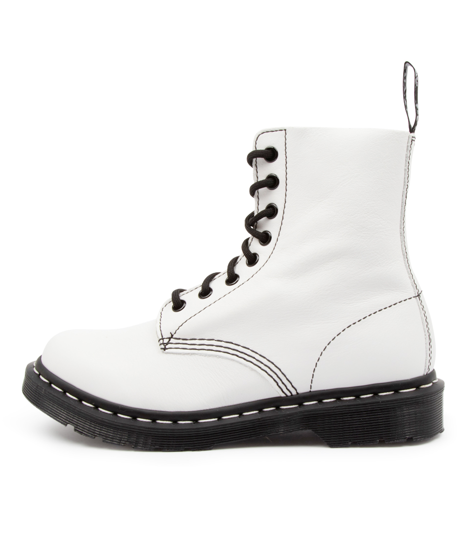 Buy Dr Marten 1460 Pascal Black & White Dm Optical White Ankle Boots online with free shipping