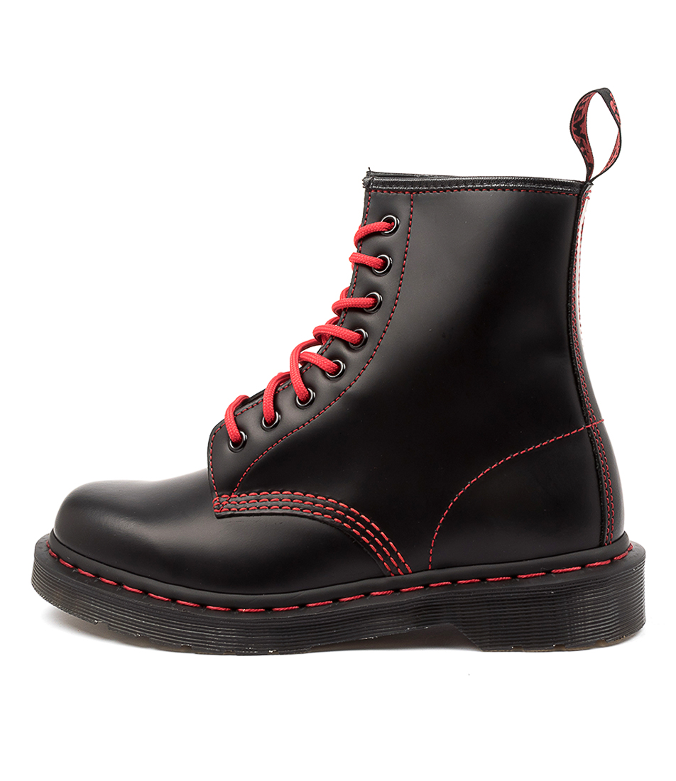 Buy Dr Marten 1460 Red Stitch Dm Black Ankle Boots online with free shipping