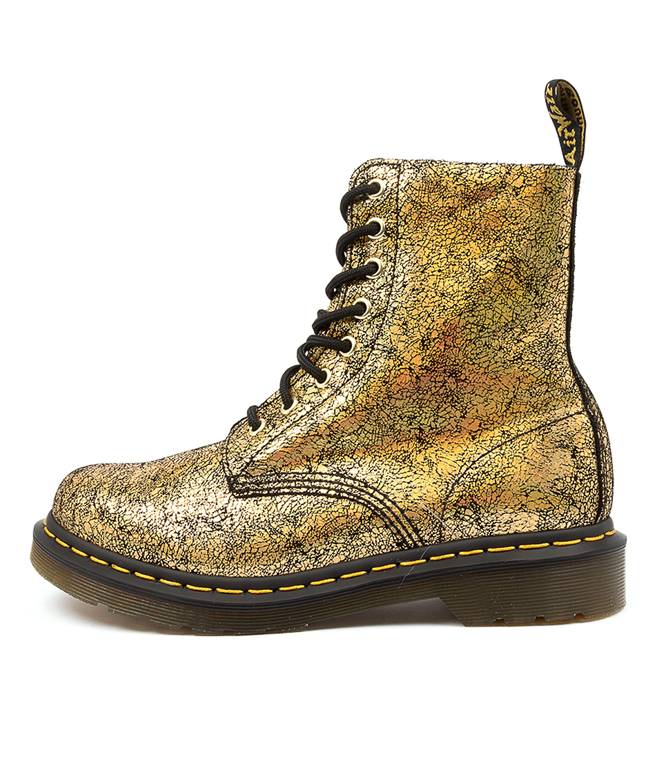 Buy Dr Marten 1460 Pascal Crackle Dm Gold Ankle Boots online with free shipping