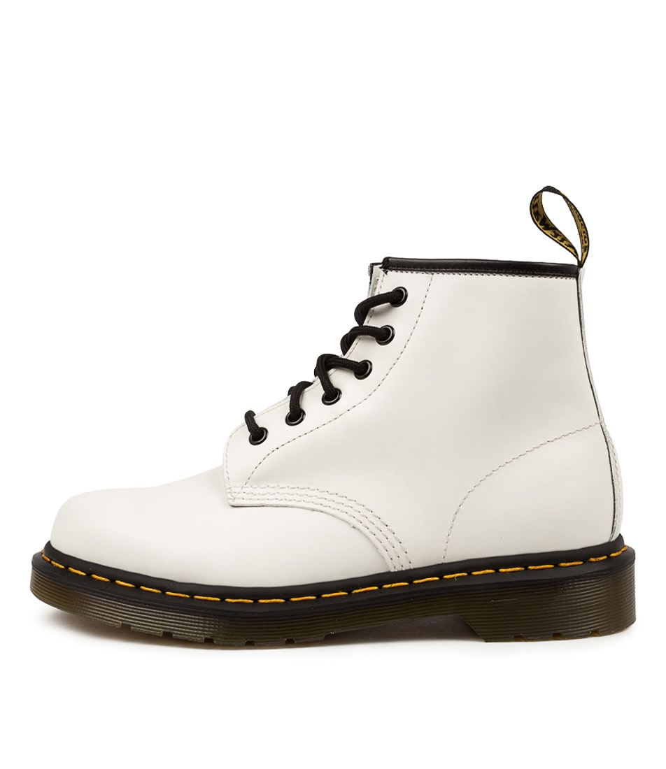 Buy Dr Marten 101 Yellow Stitch Dm White Ankle Boots online with free shipping