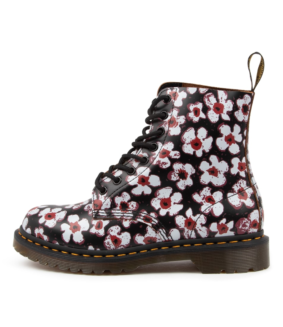 Buy Dr Marten 1460 Pascal Print Dm Black Red Floral Ankle Boots online with free shipping