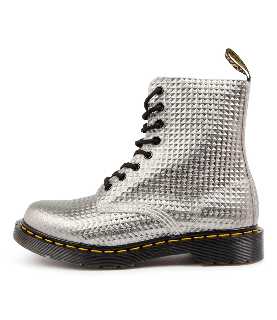 Buy Dr Marten 1460 Pascal Stud Dm Silver Ankle Boots online with free shipping