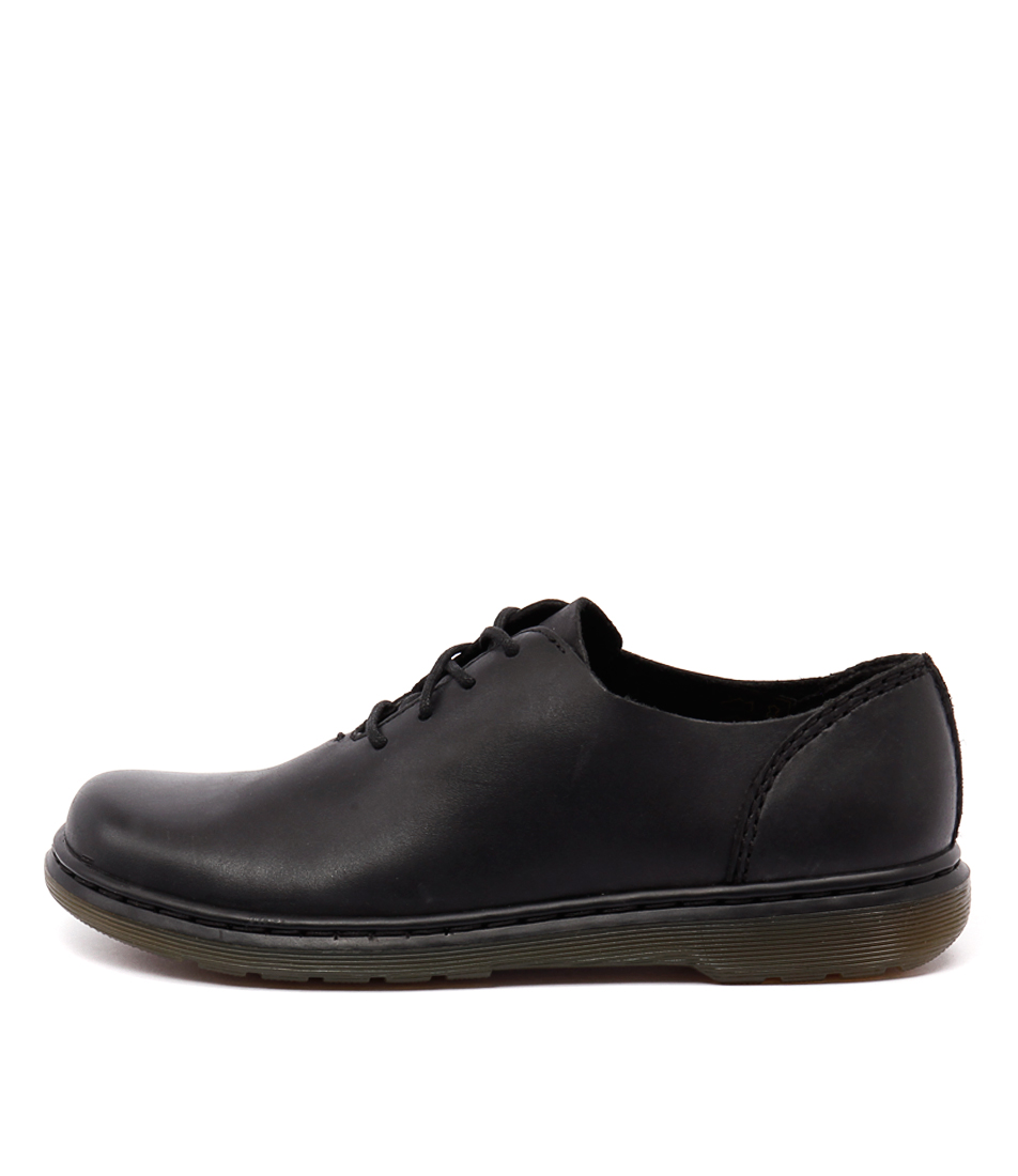 Dr Marten Lorrie Lace Shoe Black Polished Casual Flat Shoes