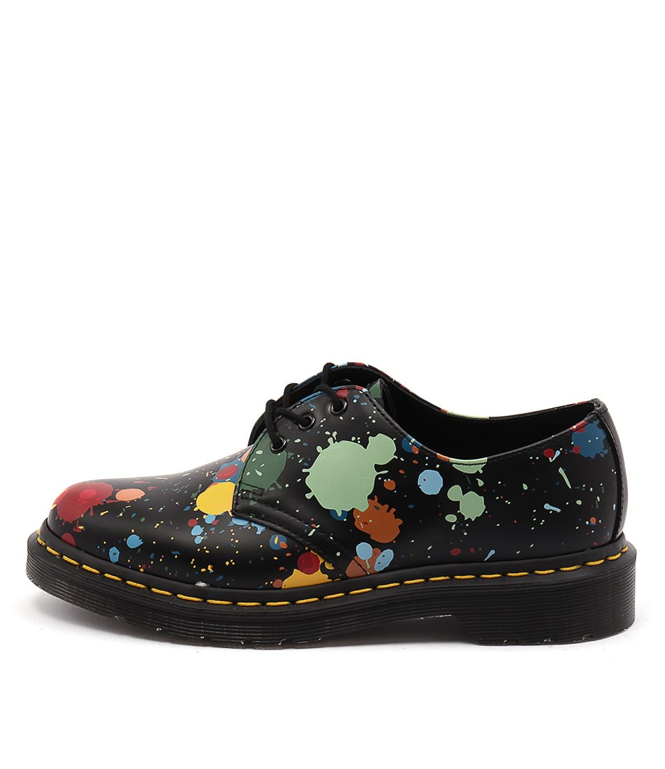 Dr Marten 1461 3 Eye Splatter Black Flat Shoes