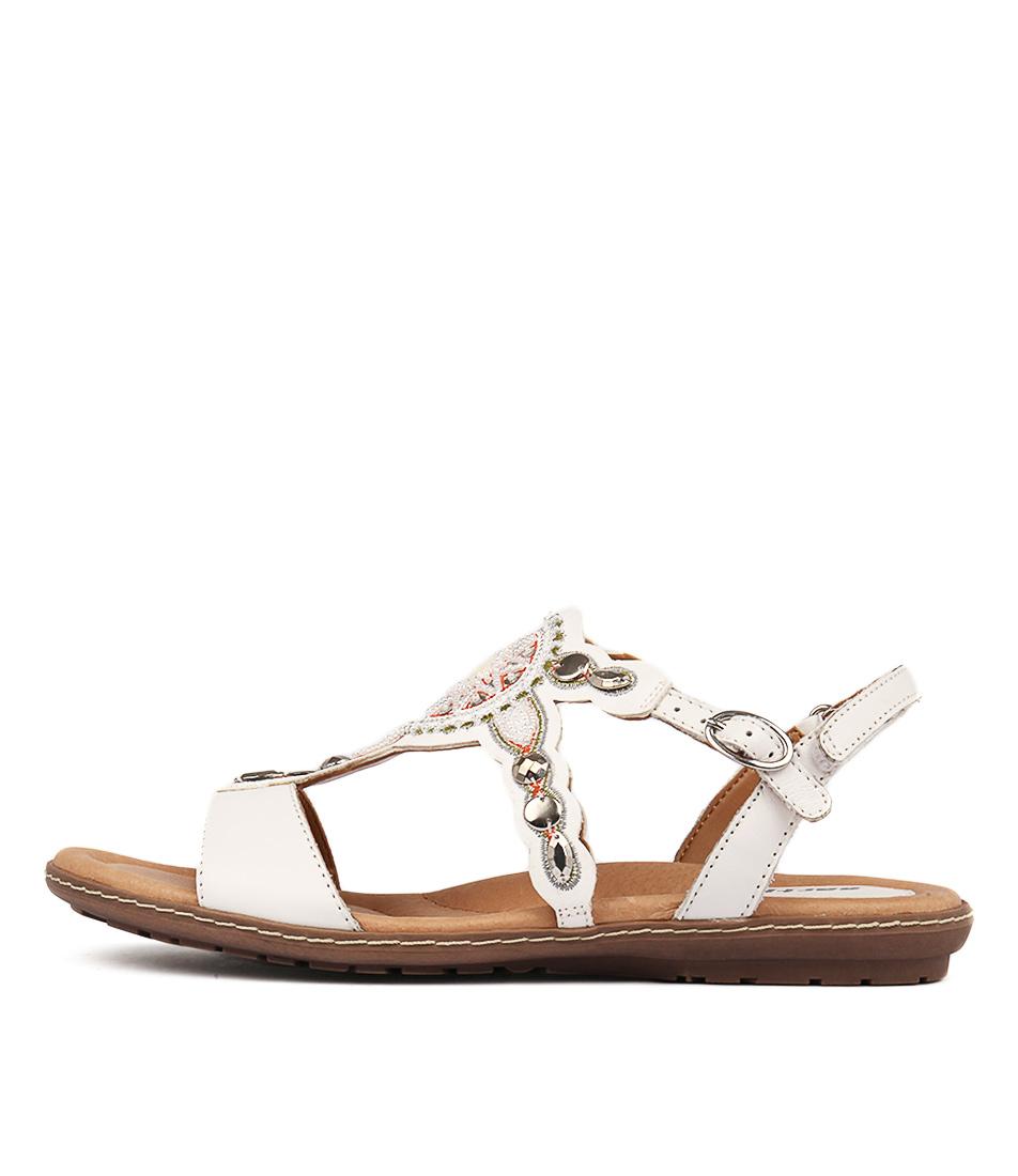 Earth Sunbeam White Casual Flat Sandals