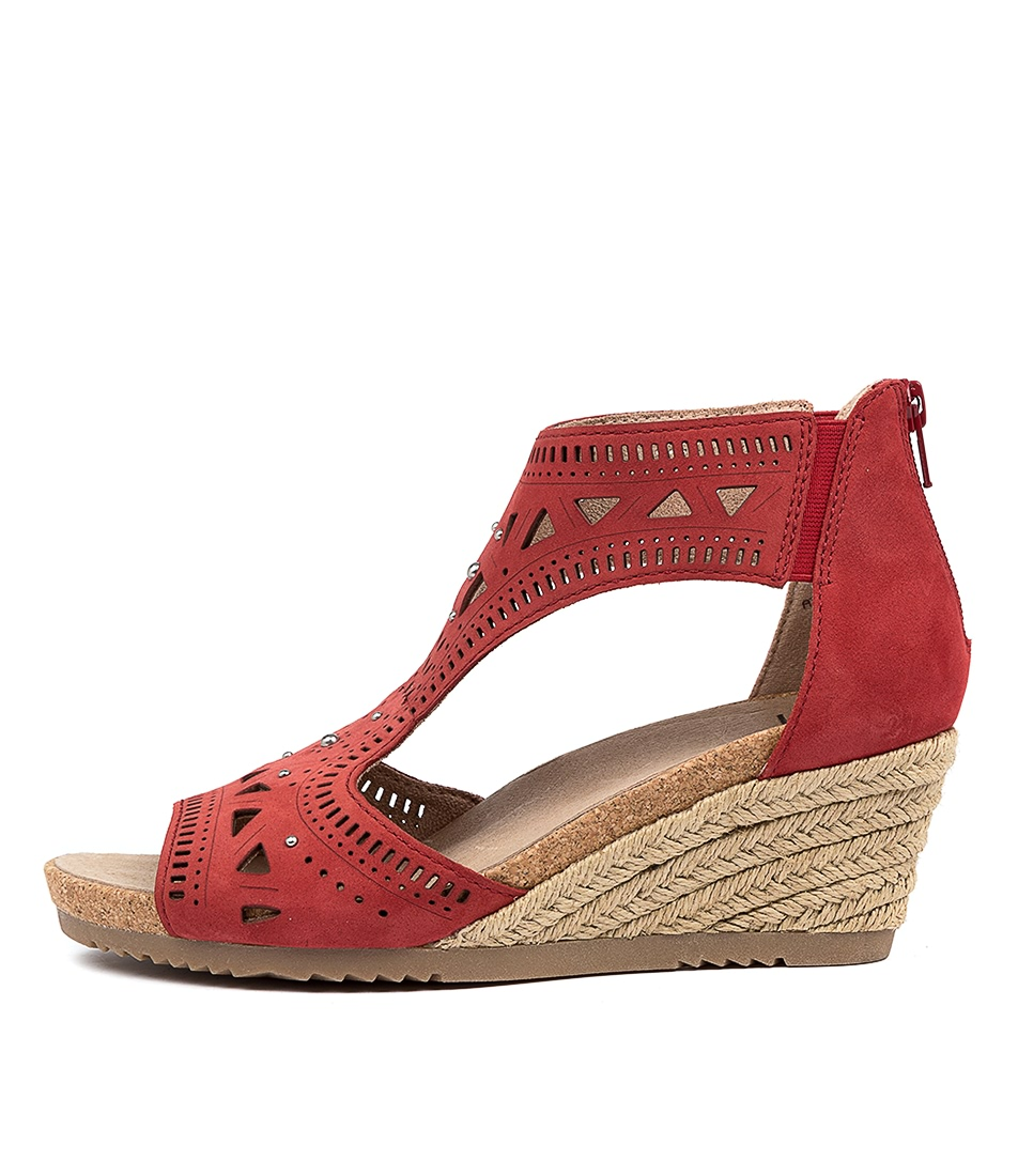 Buy Earth Barbuda Ea Bright Red Heeled Sandals online with free shipping