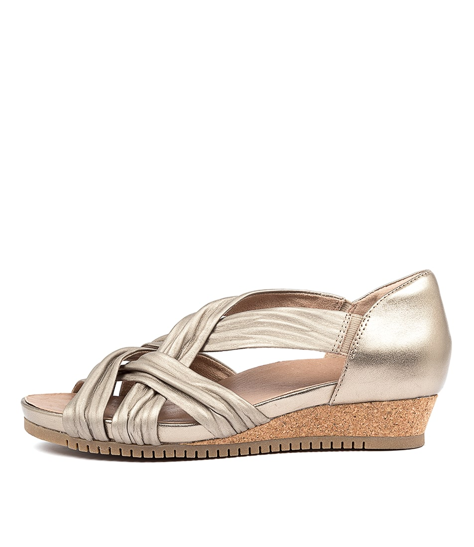 Buy Earth Gemini Ea Wash Gold Heeled Sandals online with free shipping