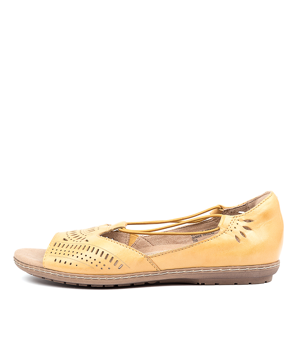 Buy Earth Nauset Ea Amber Yellow Flat Sandals online with free shipping