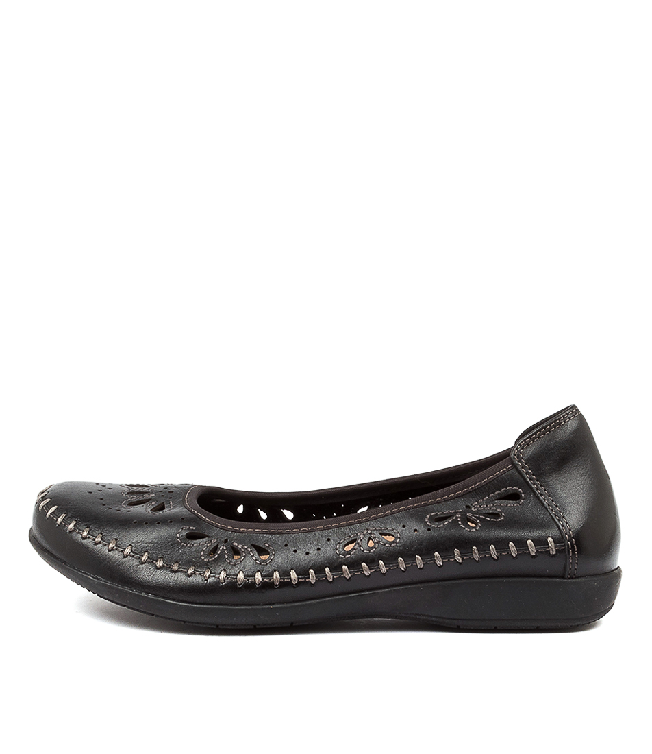Buy Earth Azza Ea Black Flats online with free shipping