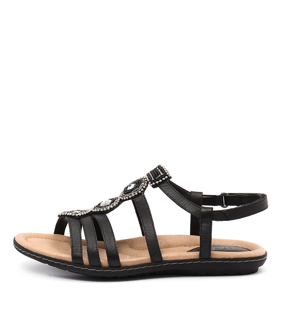 Earth Seaside Black Casual Flat Sandals