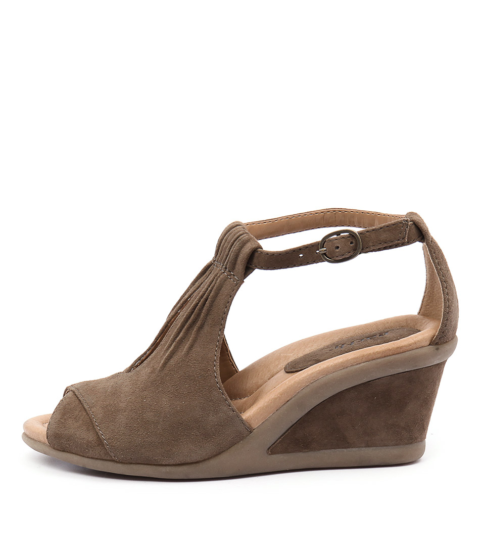 Earth Caper Khaki Heeled Sandals