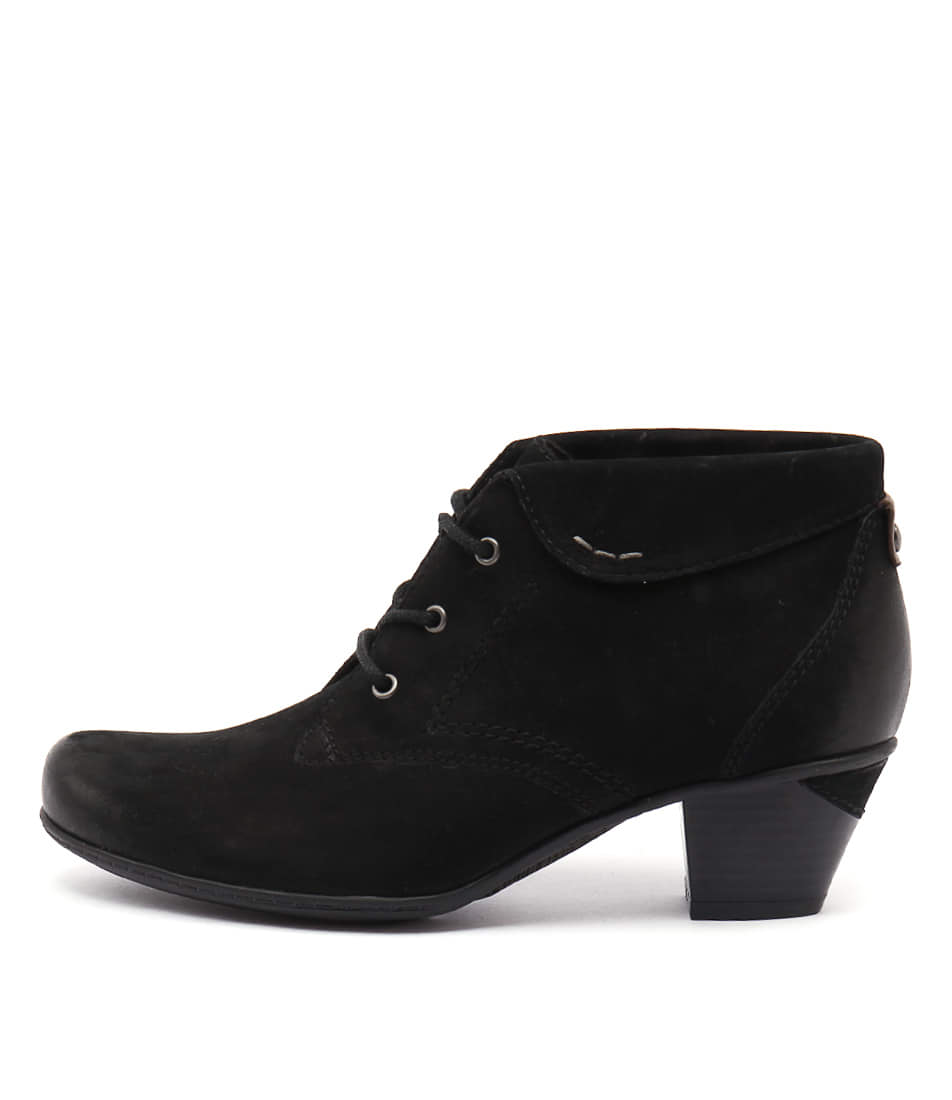 Earth Teak Black Ankle Boots