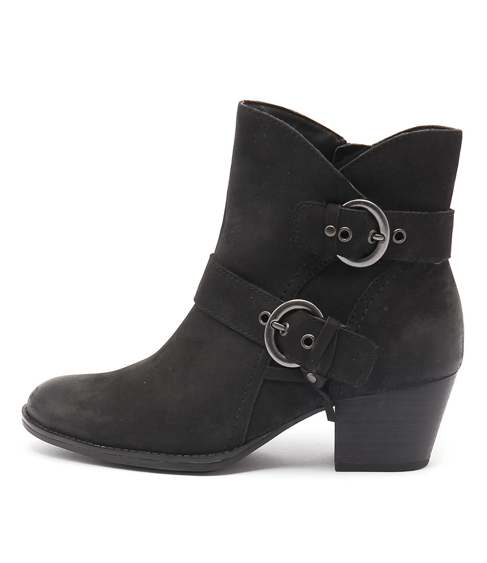 Earth Olive Ea Black Ankle Boots