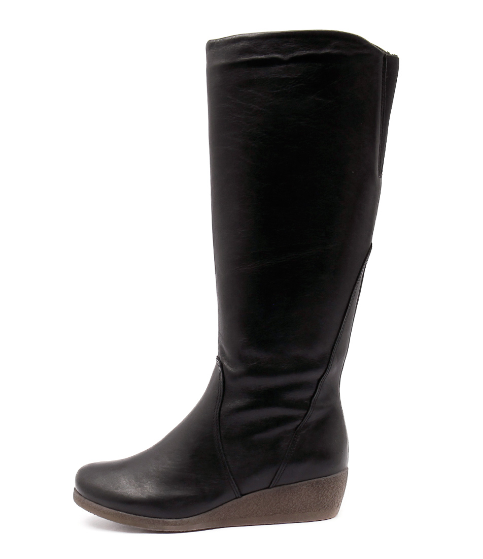 Effegie Ensino Black Boots Womens Shoes Comfort Long Boots