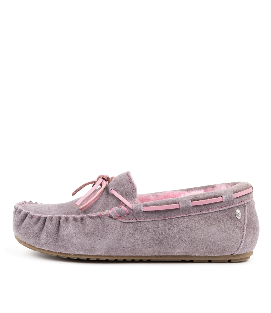 Buy Emu Australia Amity Ash & Pink Flats online with free shipping