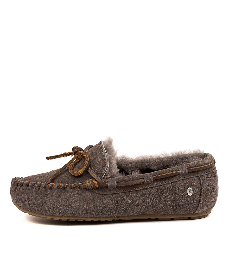 Buy Emu Australia Amity Charcoal Anthracite Flats online with free shipping