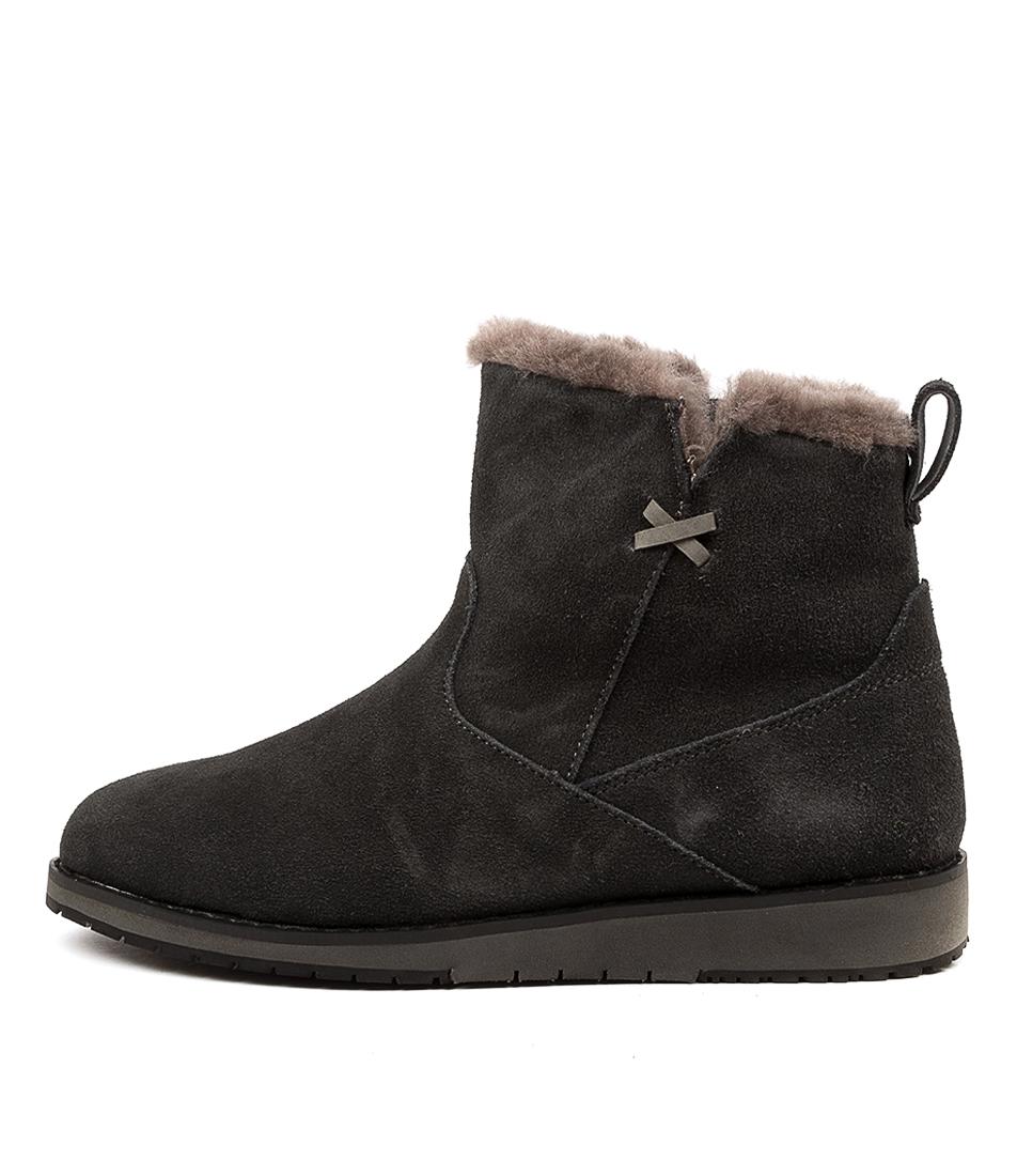 Buy Emu Australia Beach Mini Dark Grey Black Ankle Boots online with free shipping