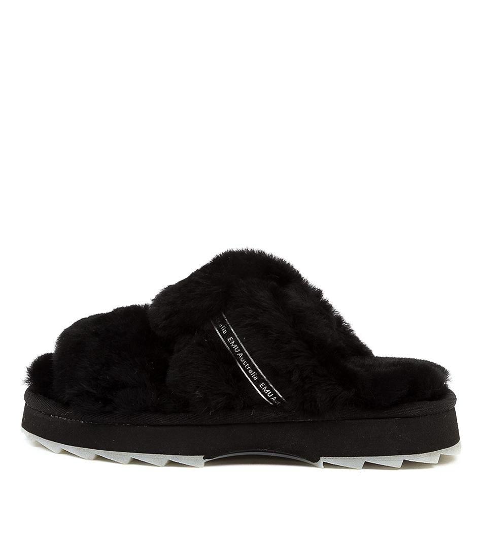 Buy Emu Australia Wobbegong Em Black Flat Sandals online with free shipping