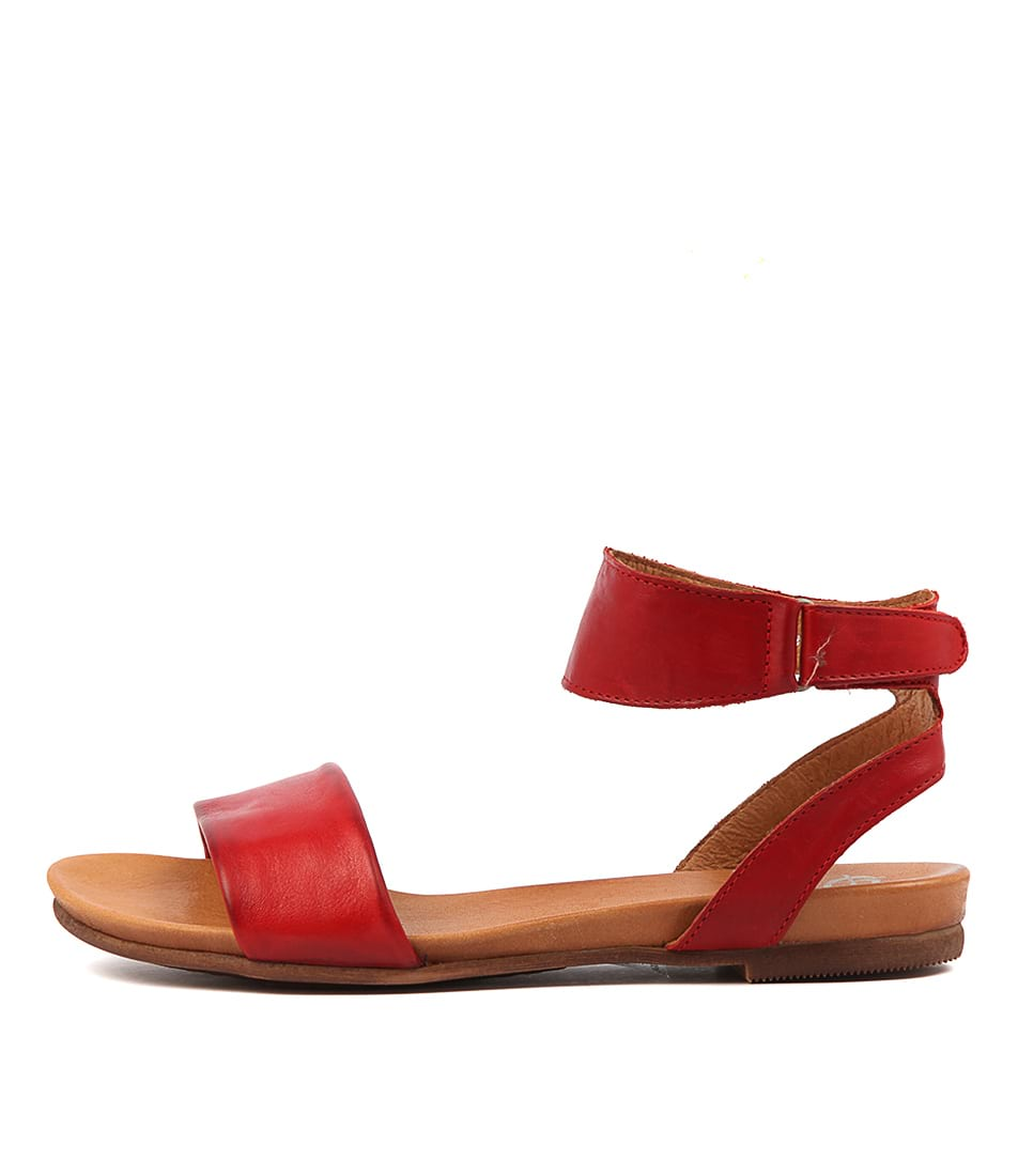 Buy Eos Lauren W Red Antique Flat Sandals online with free shipping