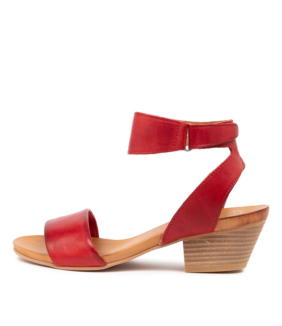 Buy Eos Cubo W Red Antique Heeled Sandals online with free shipping