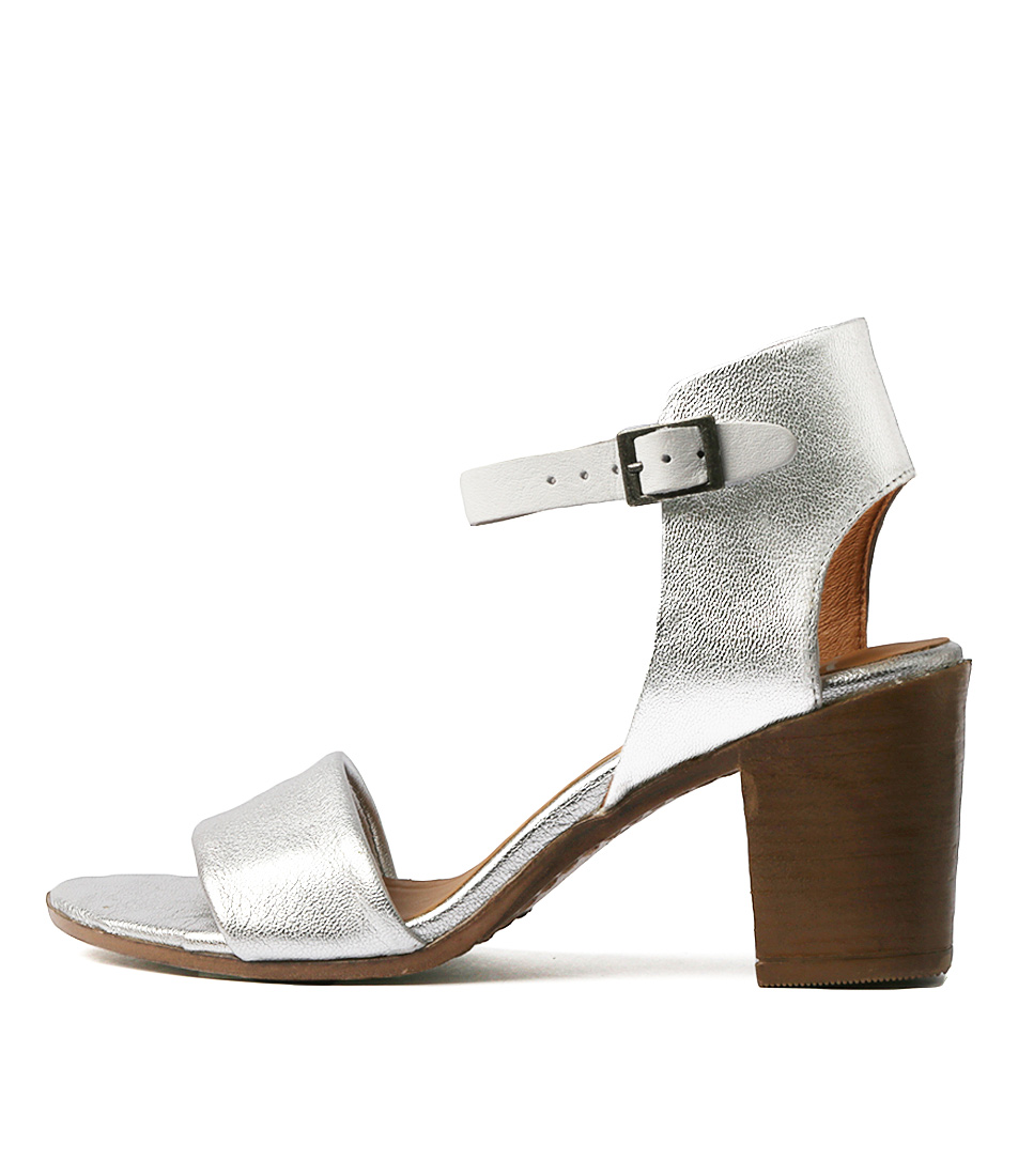 Buy Eos Star W Silver White Heeled Sandals online with free shipping