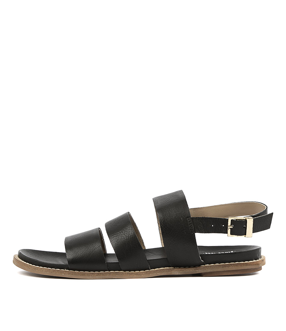 Buy Eos Pillar W Eo Black Flat Sandals online with free shipping