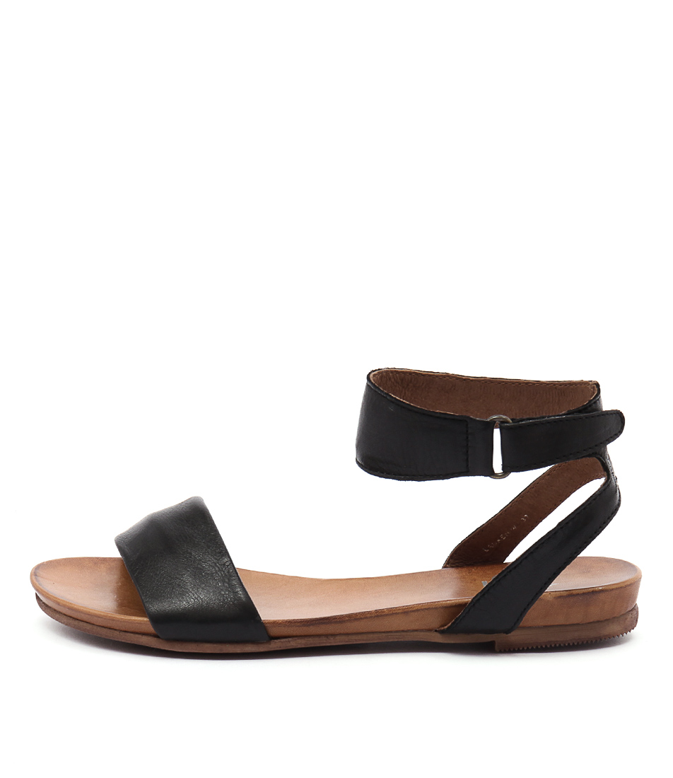 Buy Eos Lauren W Black Flat Sandals online with free shipping