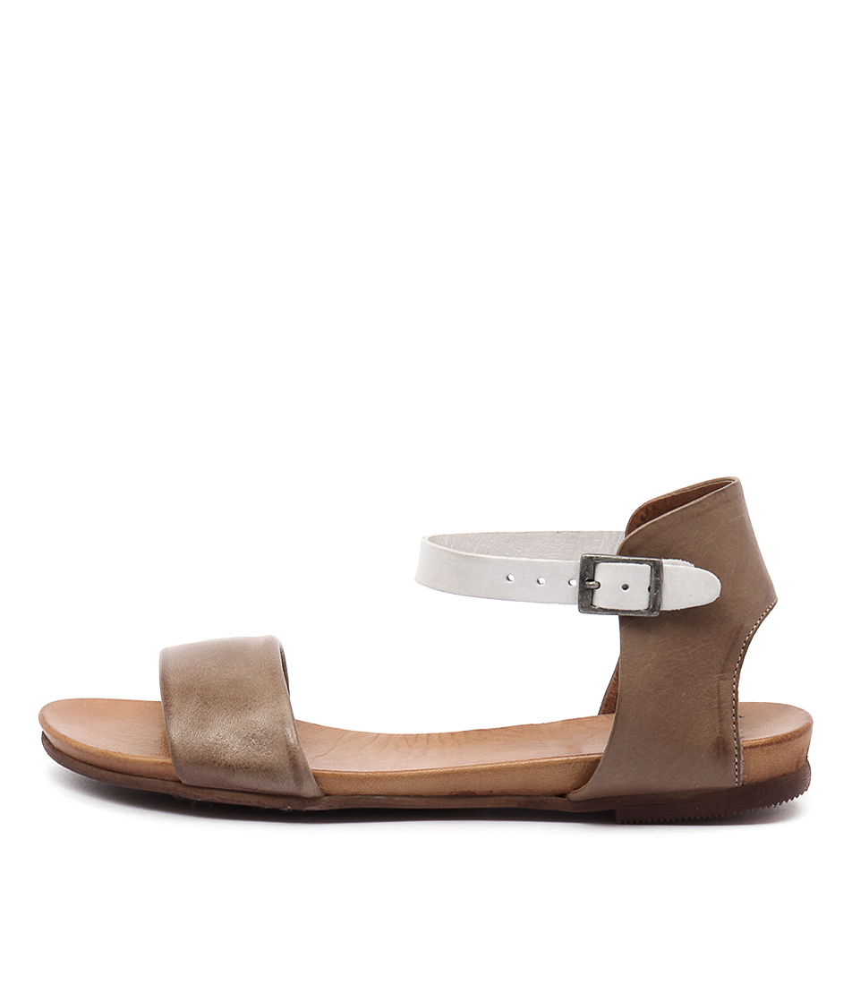Eos Larna Taupe White Casual Flat Sandals
