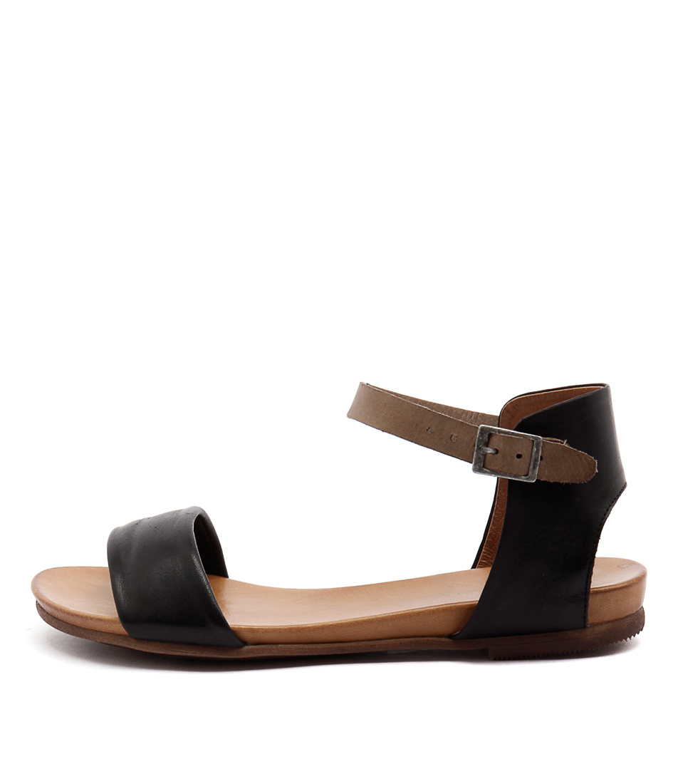 Eos Larna Black Taupe Flat Sandals