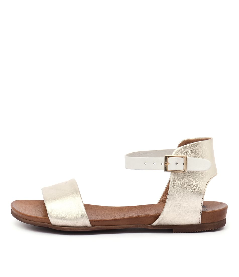 Eos Larna Champagne White Casual Flat Sandals