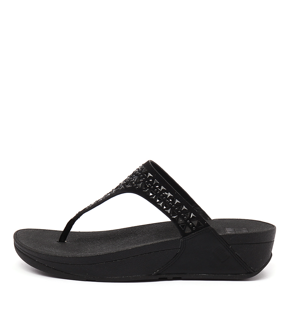 Fitflop Carmel Toe Post Black Casual Heeled Sandals