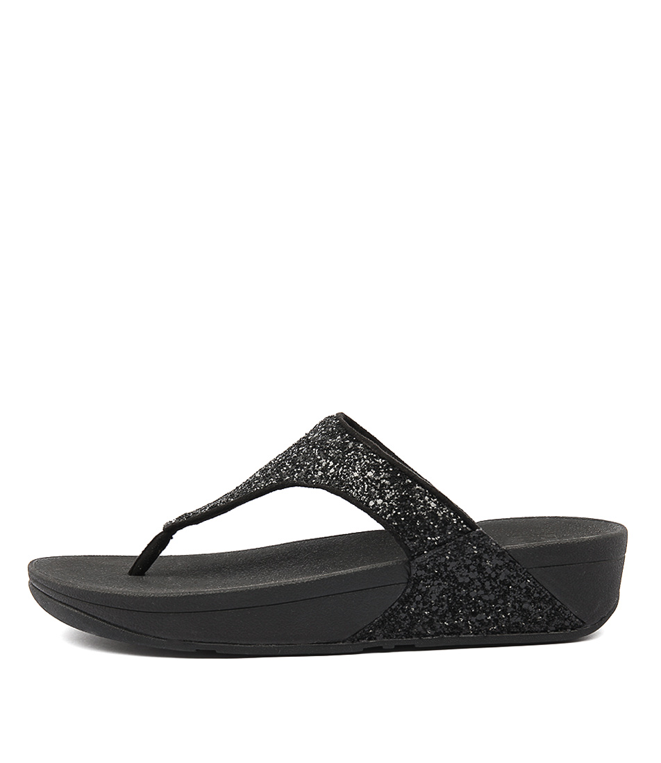 Fitflop Glitterball Toe Post Black Sandals