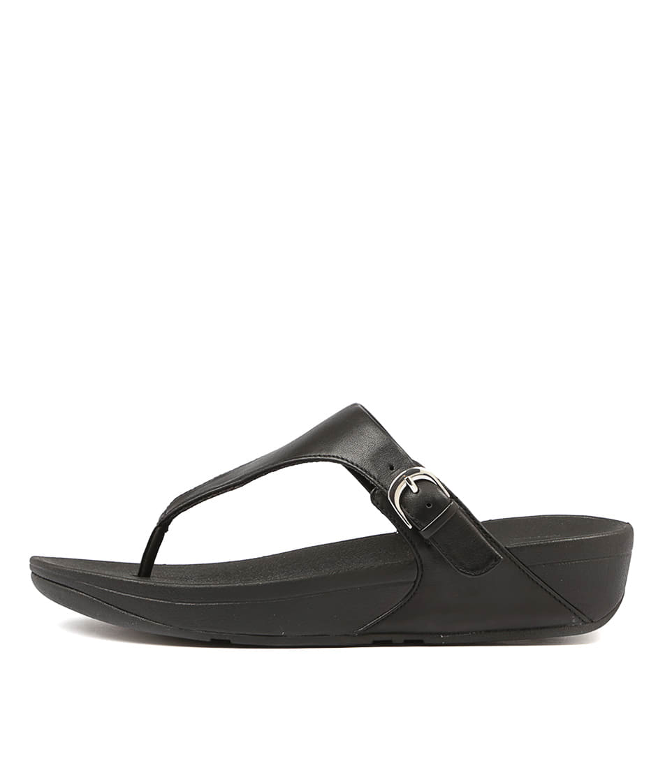 Fitflop Skinny Toe Thong Black Flat Sandals
