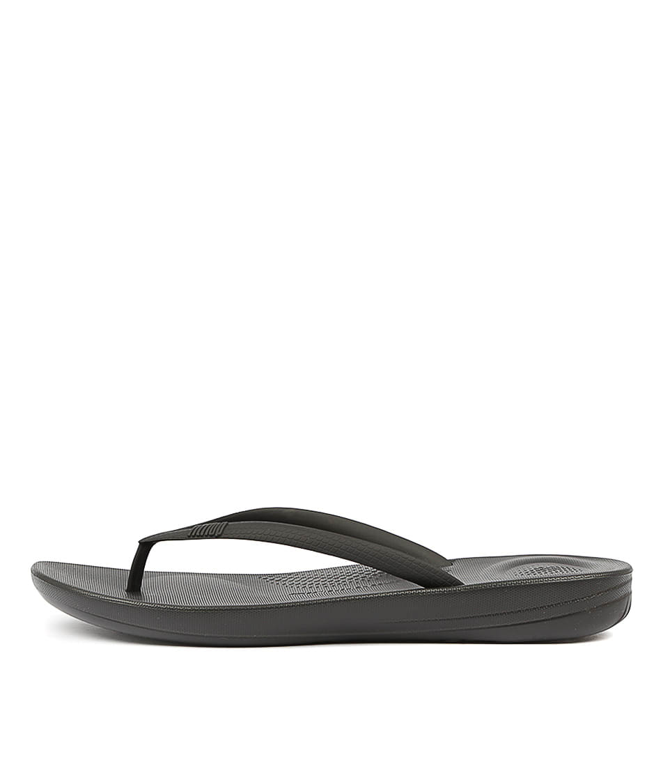 Buy Fitflop Iqushion Ergonomic Flip Flops Black Flat Sandals online with free shipping