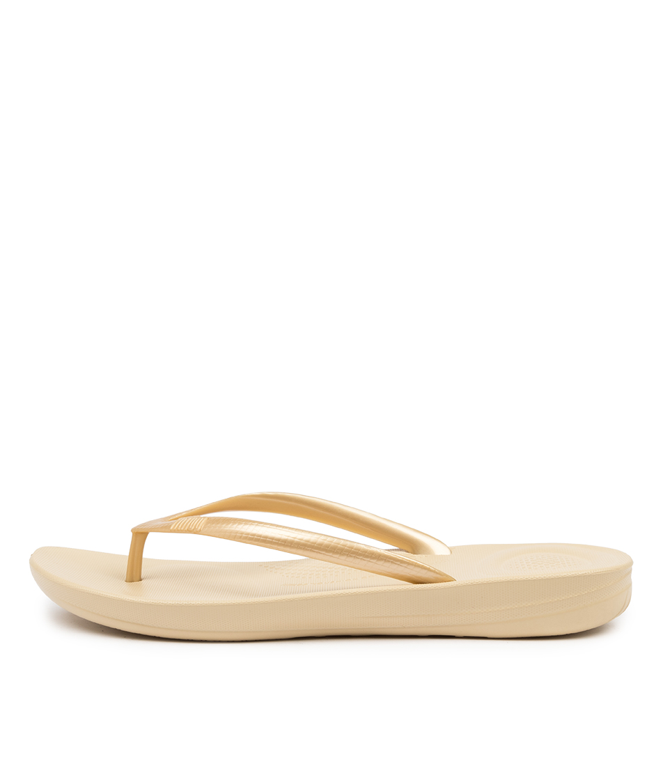 Buy Fitflop Iqushion Ergonomic Flip Flops Gold Flat Sandals online with free shipping