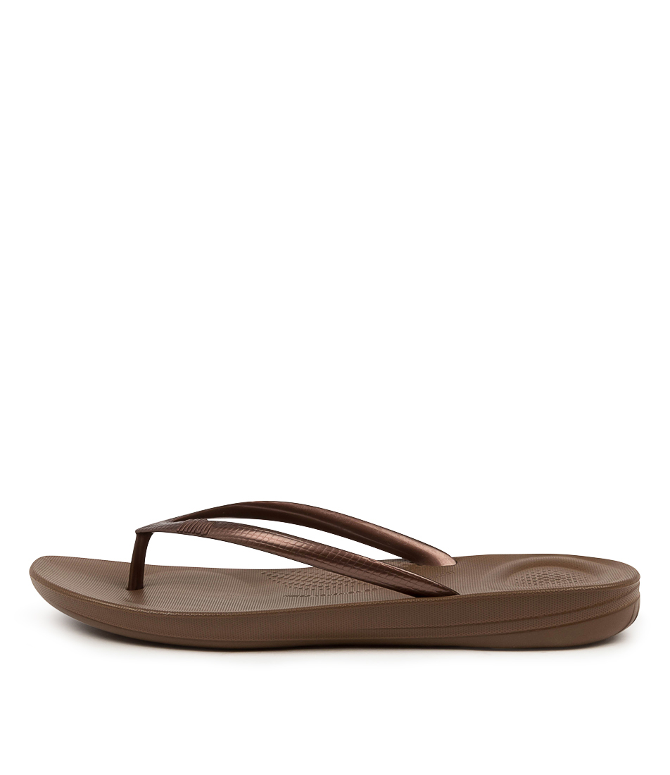 Buy Fitflop Iqushion Ergonomic Flip Flops Bronze Flat Sandals online with free shipping