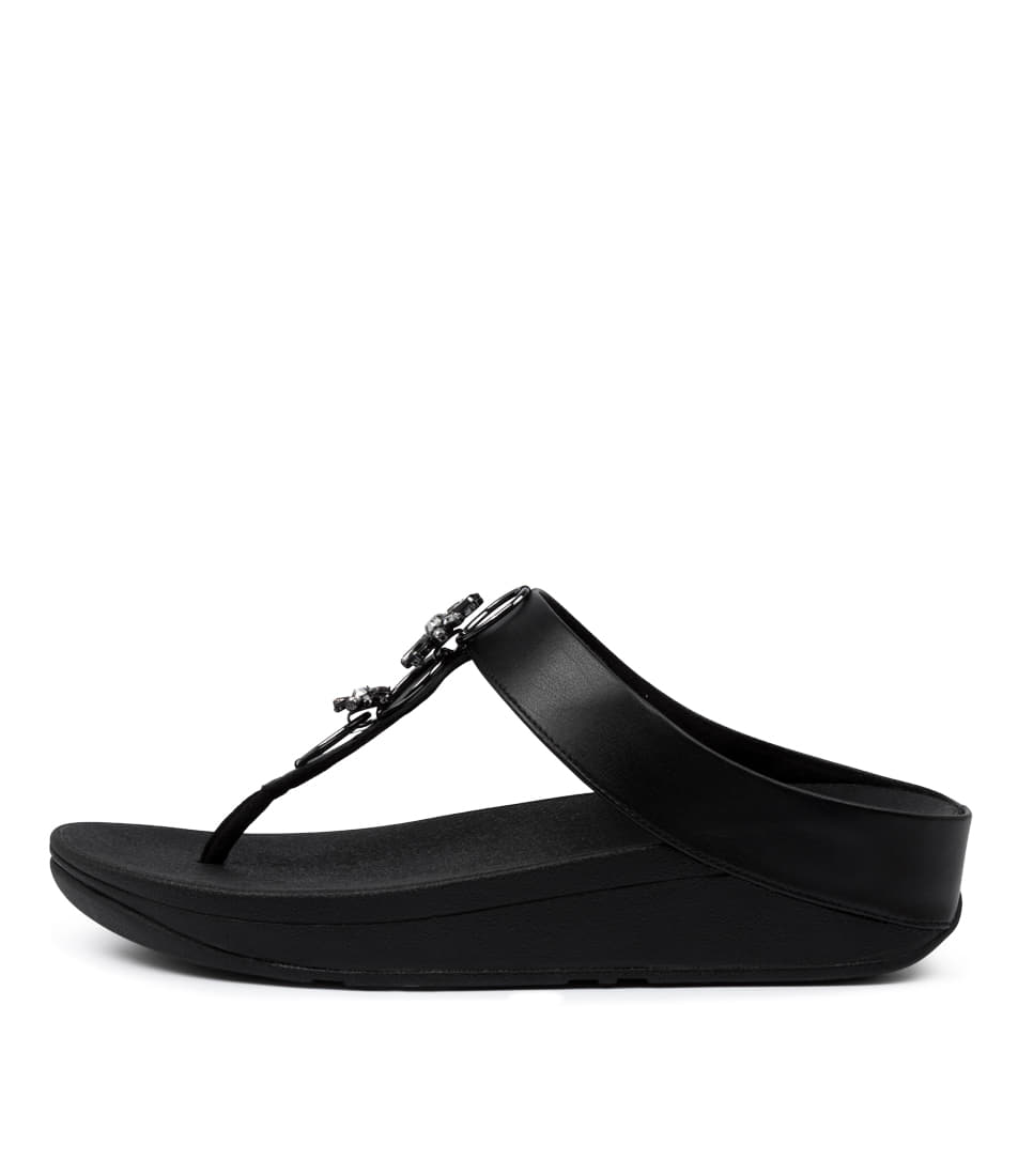 Buy Fitflop Fino Blossom Toe Thongs Ft All Black Heeled Sandals online with free shipping