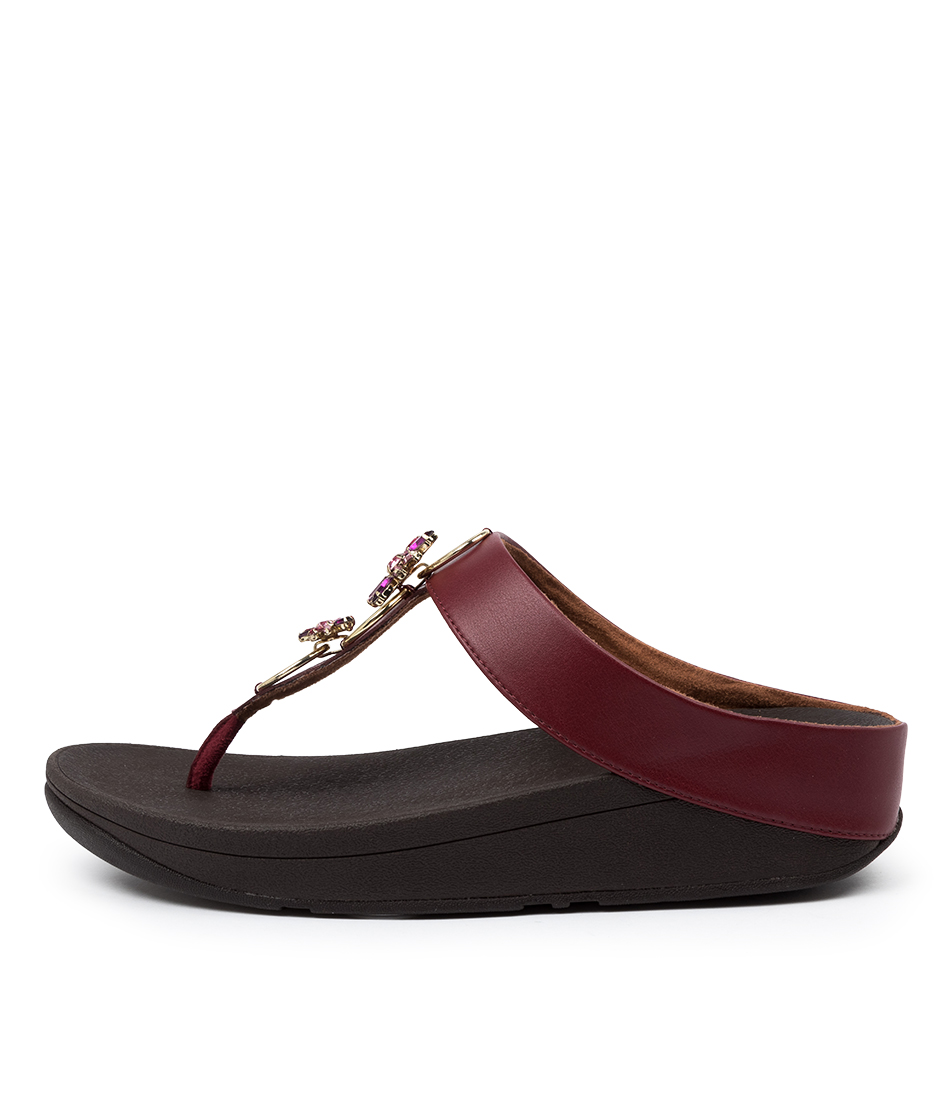 Buy Fitflop Fino Blossom Toe Thongs Ft Dark Red Heeled Sandals online with free shipping