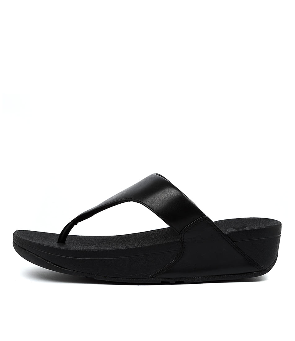 Buy Fitflop Lulu Leather Toepost Ft Black Heeled Sandals online with free shipping