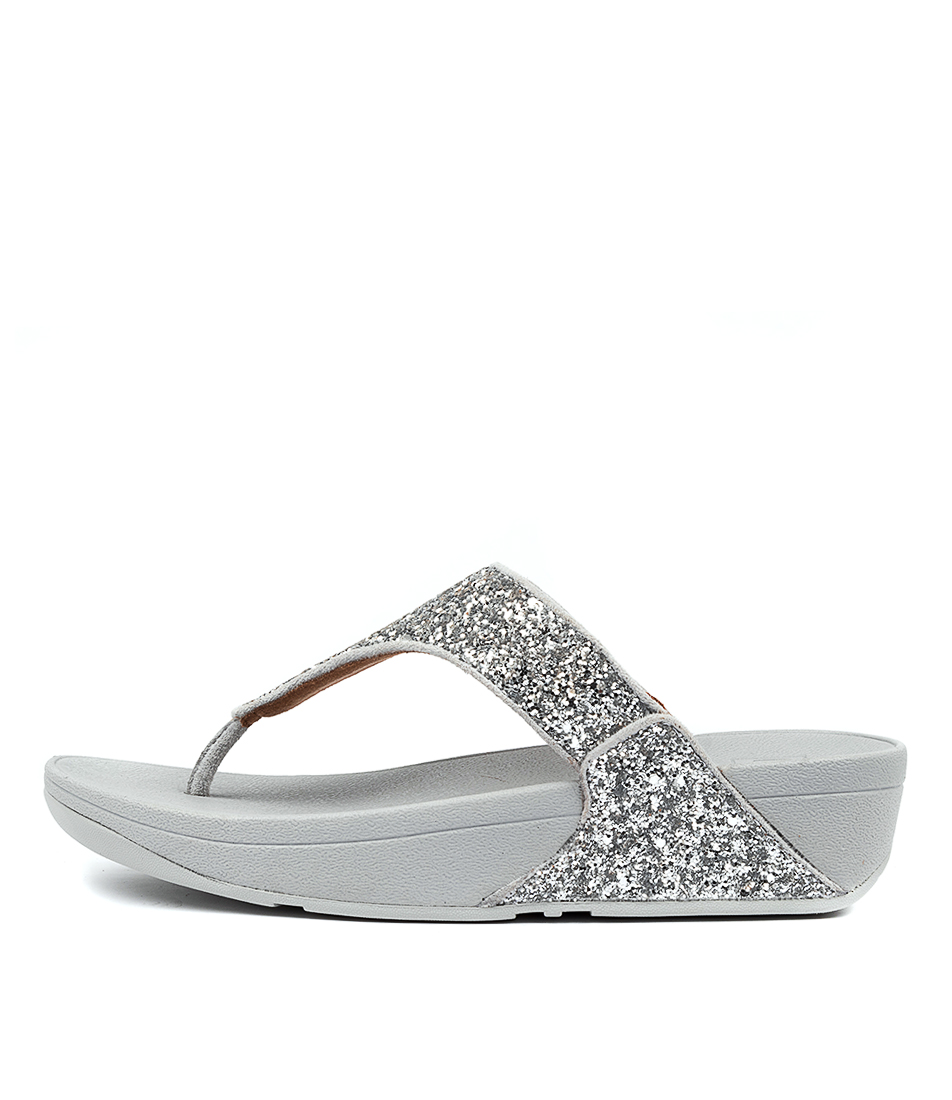 Buy Fitflop Lulu Glitter Toe Thongs Ft Silver Heeled Sandals online with free shipping