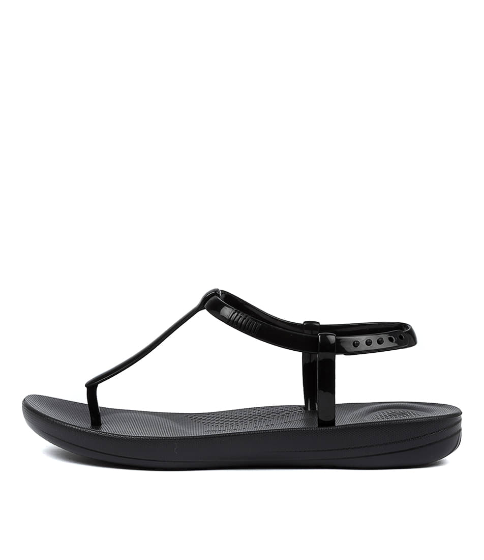 Buy Fitflop Iqushion Splash Pearlised Ft Black Flat Sandals online with free shipping