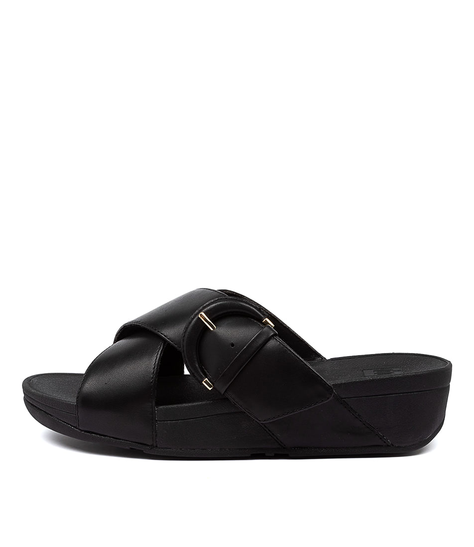Buy Fitflop Lulu Buckle Slide Ft Black Heeled Sandals online with free shipping