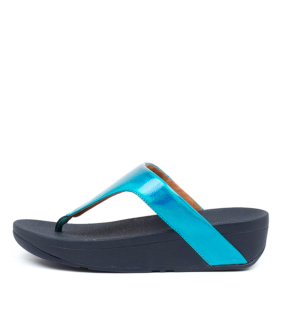 Buy Fitflop Ffbg1 Lottie Iridscnt Scl T Ft Sea Blue Flat Sandals online with free shipping