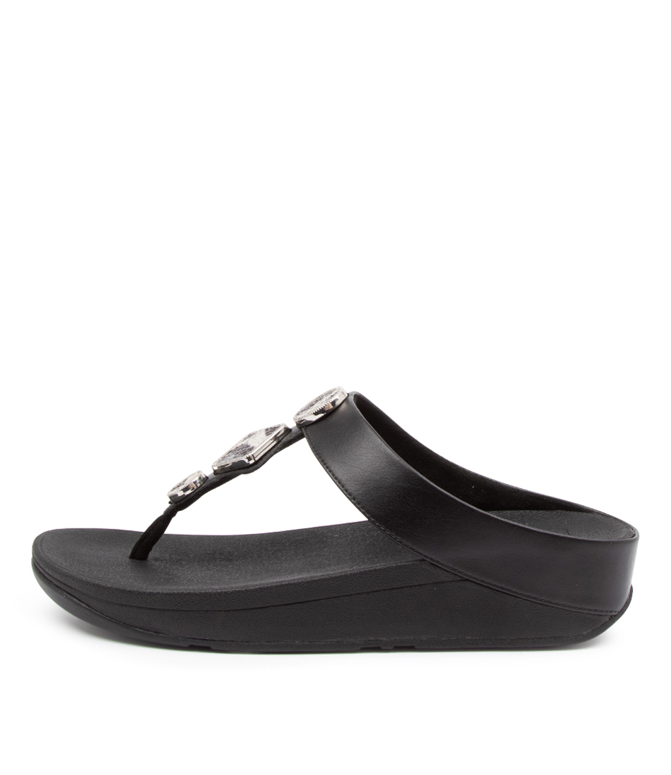 Buy Fitflop Ffai5 Leia Toe Thong Ft Black Flat Sandals online with free shipping
