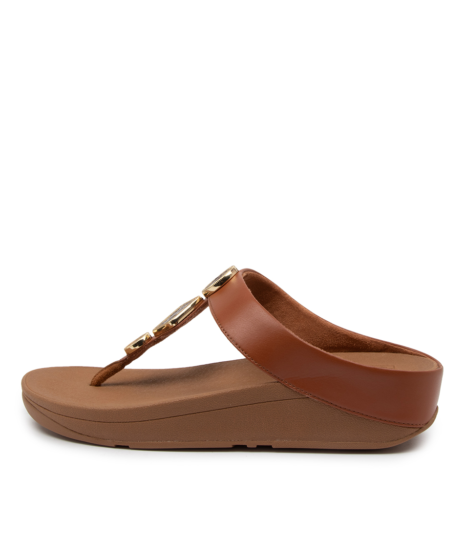 Buy Fitflop Ffai5 Leia Toe Thong Ft Tan Flat Sandals online with free shipping