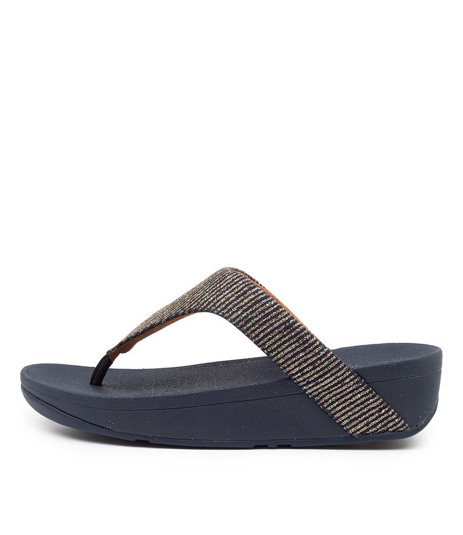 Buy Fitflop Ffbf7 Lottie Glitter Strip Ft Midnight Navy Flat Sandals online with free shipping