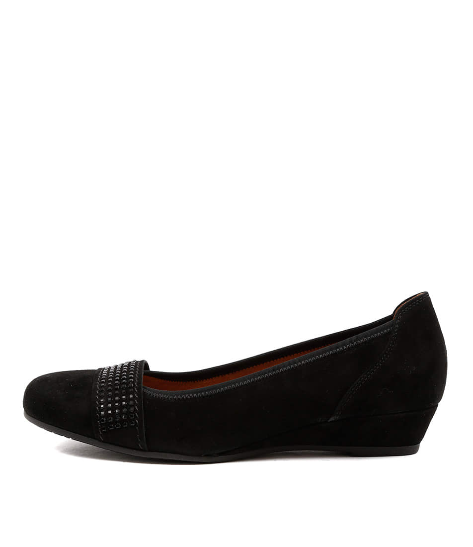 Gabor Nessa Schwarz Comfort Heeled Shoes
