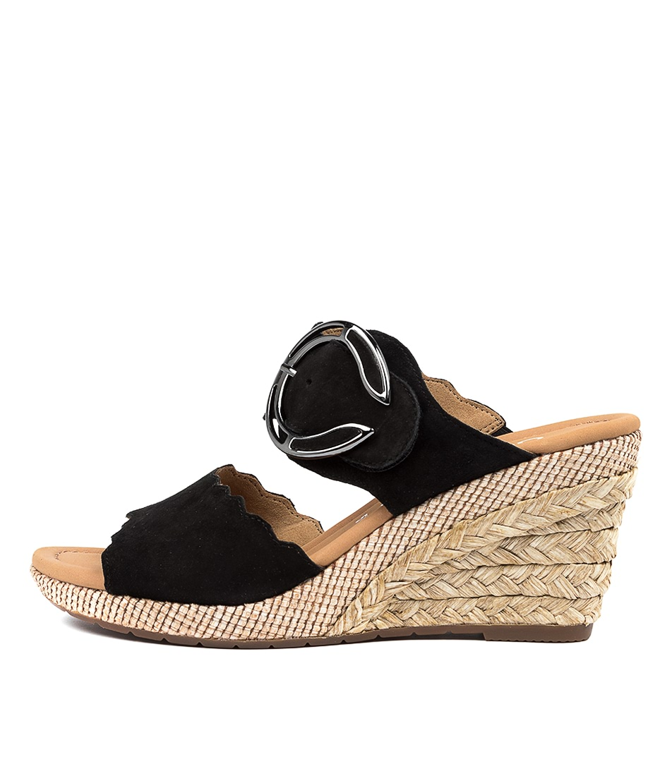 Buy Gabor Taleb Ga Schwarz Casual Heeled Sandals online with free shipping