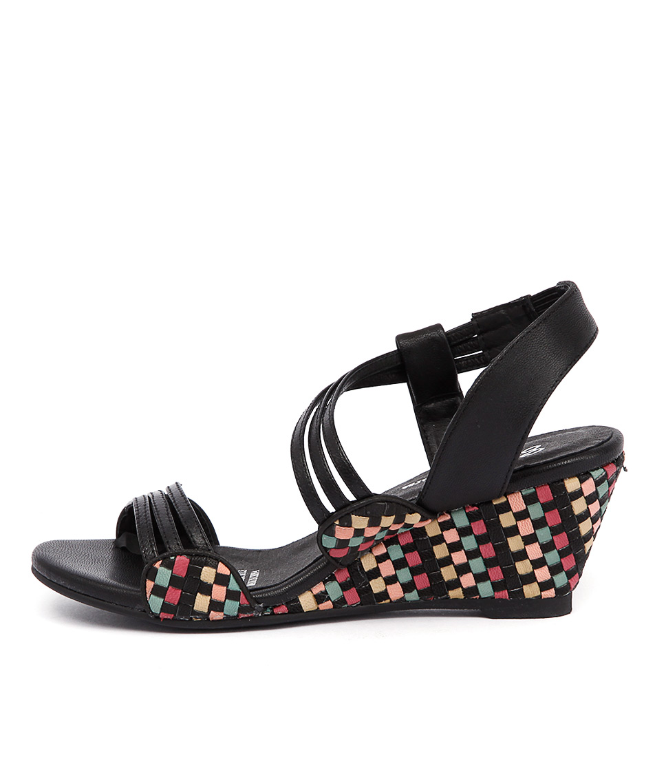 Gamins Cruise Black Bright Multi Casual Heeled Sandals