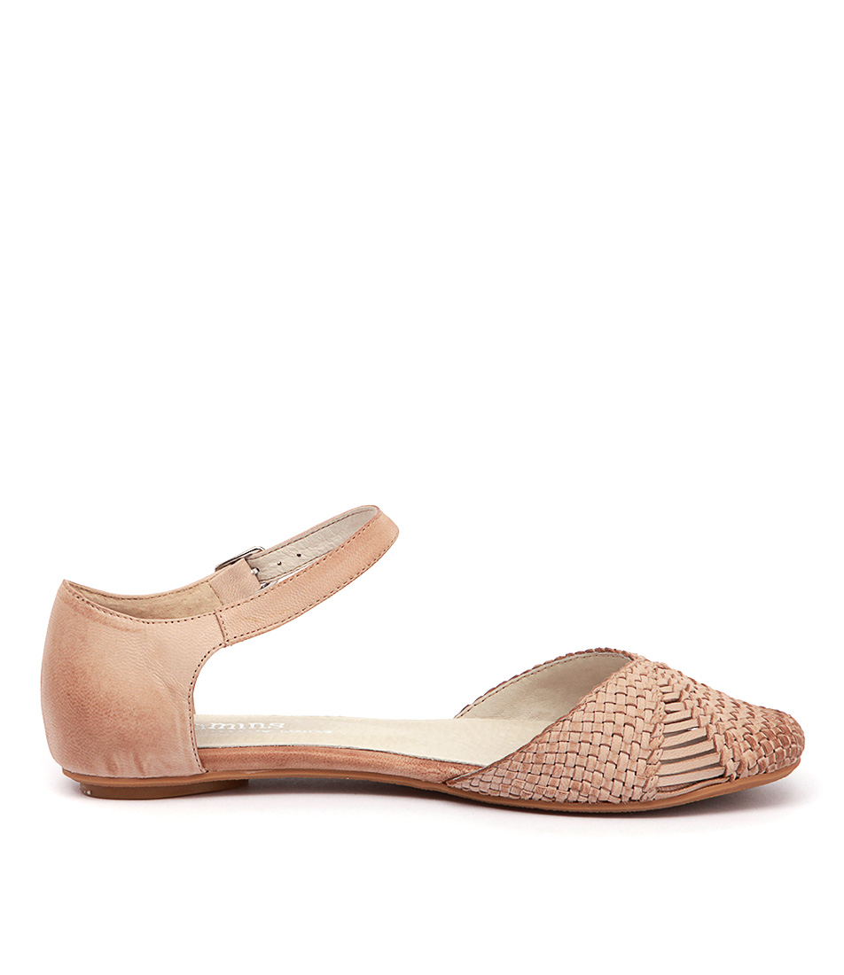 Womens Leather Comfort Shoes Beige Woven